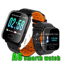 pulseiras de pulso venda por atacado-Novo A6 Pulseira Relógio Inteligente Tela de Toque IP67 Resistente À Água Smartwatch com Freqüência Cardíaca Pulseira Inteligente Monitor de Corrida Esporte
