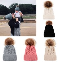 Wholesale crochet black white hats resale online - Girls Mom Knitted Hats Designs Winter Solid Knitting Wool Bobble Winter Boys Kids Designer Hats Fashion Ski Warm Hats