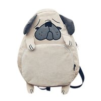 cadernos de garotas vintage venda por atacado-Mulheres mochila mochila bonito cão mochila feminino vintage notebook para meninas escola (khaki)