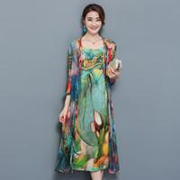 Wholesale natural linen suit online - Large Size xl xl Women Piece Set Women Autumn Natioanl Print Sling Dress Open Stitch Cardigan Suit Elegant Chiffon Vestido Y19050905