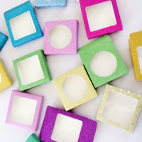 ingrosso scatola glitter vuota-Pacchetto di cosmetici all'ingrosso 25mm ciglia finte scatola di imballaggio multicolore di carta di scintillio scatola di imballaggio ciglia finte scatole ciglia scatola vuota