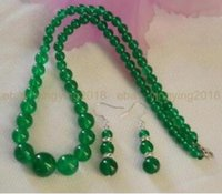 Wholesale 14mm copper beads for sale - Group buy Jewelryr Jade Set mm Natural Green Jade Round Beads Necklace quot Earrings Jewelry Set Natural jewelry
