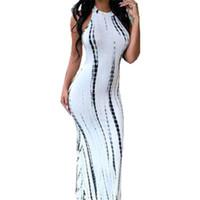 красное белое полосатое платье макси оптовых-Летнее платье с вырезом красное белое без рукавов длинное платье в полоску с принтом платья макси Летние знаменитости пляжная вечеринка платья Club J3207 Y19053001