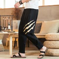 pantalones holgados de algodón para hombres al por mayor-M ~ 5XL 2019 Nuevos pantalones casuales de algodón y cáñamo de verano botón de disco Harun pantalones holgados de moda grandes con leggings