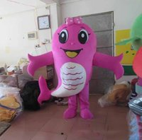 trajes do epe venda por atacado-2019 nova alta qualidade hot pink fish mascot costume fancy dress epe