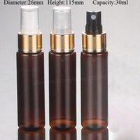 pulverizador de plástico marrón al por mayor-60 x30ml ámbar Brown plástica del viaje 30cc botella de perfume rociador de la niebla de plástico del atomizador 1 oz envase de la fragancia