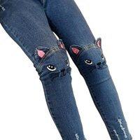 baby-jeans-muster großhandel-Baby Mädchen Jeans Nette 3D Cartoon Muster Kinder Jeans Frühling Herbst Schöne Katze Hochwertige Kinder Hosen Freizeithose für Kind