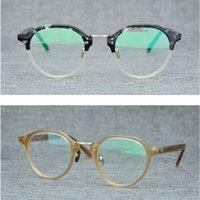 marcas de óculos japoneses venda por atacado-Retro Rodada Óculos de Armação Dos Homens Polígono Miopia Japonês Hand-made Vintage Óculos Mulheres Prescrição Óptica de design Da Marca Eyewear
