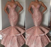 ingrosso abiti da sera di design arabo-Pink 2019 New Designer economici Mermaid Prom Dresses Dubai arabo lungo Sweetheart perline Sash vestito convenzionale usura del partito di sera Abendkleid
