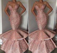 diseñador árabe vestidos de noche al por mayor-Pink 2019 Nuevo diseñador barato sirena vestidos de baile Dubai Árabe largos perlas de novia Fajas Vestido formal Fiesta de noche Ropa Abendkleid