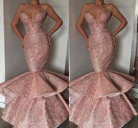 arabische designer abendkleider großhandel-Rosa 2019 Neue Designer Günstige Mermaid Prom Dresses Dubai Arabisch Lange Schatz Perlen Schärpen Abendkleid Abendkleid
