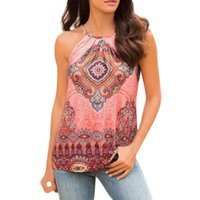 2f1fde1fe918c Women Summer Tank Tops Boho Style Tribal Print Vest Fashion Halter Sleeveless  Blouse Casual Tank Cami Haut Femme  L
