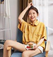 lindas blusas curtas venda por atacado-Primavera e verão 2019 nova camisa de mangas curtas coreano botão solto confortável belo tamanho grande design blusa