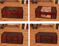 Wholesale chinese treasure for sale - Group buy Vintage Metal Lock Wooden Storage Boxes Traditional Chinese Retro Treasure Chest Classic Desktop Jewelry Display Case