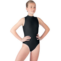 черный блестящий bodysuit оптовых-ICOSTUMES Girls Black Sleeveless Turtleneck Leotards For Gymnastics Kids Shiny Stretchy Ballet Dance Leotard Bodysuit