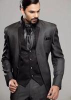smokin üçlü takım elbisesi satılık toptan satış-Sıcak Satış Düğün Smokin Slim Fit Erkekler Groomsmen Suit için üç adet Ucuz Balo Biçimsel Suits (ceket + pantolon + Vest + Tie) 042 Suits
