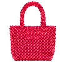 handgewebte perlen großhandel-Handgewebte Perle Taschen Diy Solid Color Frauen Perlen Handtasche Elegante Abendtasche Retro Handtasche