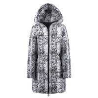 baumwoll-frauen lange jacken großhandel-Womens Coat Winter Long Down Baumwolle Snake Print Parka Kapuzenmantel Jacke Outwear Abrigos De Mujer