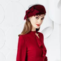 Wholesale felt pillbox hat for sale - Group buy New Fashion Wool Hat Women Vintage Red Ladies Wool Felt Winter Fascinator Pillbox Hats Fedoras with Bow Hats B