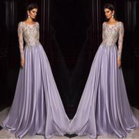 Wholesale celebrity kaftan dress resale online - Lavender Dubai Arabic Kaftan Long Sleeves Prom Dresses Gold Embroidery Sheer Neck Celebrity Party Gowns Custom