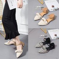 nuevo verano sandalias de tacón bajo al por mayor-Moda a cuadros damas zapatos solo versión coreana 2019 primavera y verano arco salvaje señaló sandalias de tacón bajo nuevas