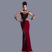 ingrosso vestiti sexy eleganti sexy-2019 Nuovo collo alto dritto elegante bordeaux e nero con maniche lunghe abiti da cerimonia in pizzo abiti da sera abiti da sposa
