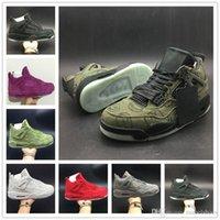 мужские дизайнерские имена оптовых-Обувь баскетбол KAWS 4S имя обуви зеленый фиолетовый красный прохладный серый черный бежевый замша граффити дизайнер Мужские спортивные кроссовки