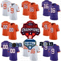 ingrosso tazze da tè-Trevor Lawrence Clemson Tigers 2018 Champions Cotton Bowl Travis Etienne Justyn Ross Tee Higgins Isaiah Simmons Tanner Muse College Jersey