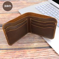 Wholesale korean dresses handmade for sale - Group buy Men Wallet New Genuine Leather With Wallets Simple Handmade Purse Multi card ID Card Wallet Male