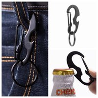 Wholesale multi function bottle opener can for sale - Group buy Outdoors Portable Carabiner Type D Buckle Metal Fast Fastening Key Ring Bottle Opener Spring Hook Multi Function Outdoor Gadgets ZZA1052