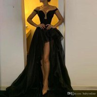 Wholesale off shoulder short high low gowns resale online - Sexy Black Detachable Skirt High Low Evening Dresses Off the Shoulder A Line Sweetheart Party Gowns For Women Tulle Prom Cocktail Wear