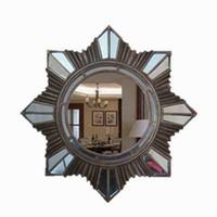 антикварные декоративные зеркала оптовых-Европа Multi Style круглый Декоративное настенное зеркало в ванной с рамкой для гостиной Предметы ванной комнаты из античного стекла