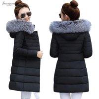 büyük etek katları toptan satış-Ceket Kapşonlu Kadın Big Kürk Kış Parka Etek Uzun Coats Pamuk yastıklı Bayanlar Kış Coat Sıcak Kalınlaşmak Jaqueta Feminina Inverno