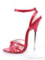 sapato rosa de 16 cm venda por atacado-Sexy Design 16 cm Aço Stiletto Heels Mulheres Boate Vestido Sandálias Tira No Tornozelo De Couro Gladiador Sandálias Sapatos de Festa Mulher Verde Vermelho Rosa