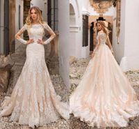 vestidos bonitos do champanhe venda por atacado-Bela Champagne Sereia Vestidos de Casamento Manga Longa Stripless Lace Apliques de Tule Botões Voltar Longos Vestidos de Noiva