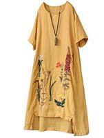 keten işlemeli yazlık elbiseler toptan satış-Minibee kadın Yaz A-Line İşlemeli Keten Elbise Merhaba Düşük Tunik Fit ABD 4-16