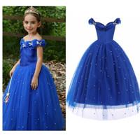 schöne mädchen kostüme großhandel-Prinzessin Kleid Mädchen Off Fluffy Schulter Perlen Kleid Halloween-Kind-Kind-Partei-Kostüm-elegante schöne HHA885