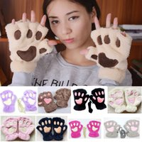 Wholesale bear paw plush gloves resale online - Women Cosplay Bear Cat Paw Cover Mittens Gloves For Girls Winter Warm Soft Plush Gloves Halloween Christmas HH9
