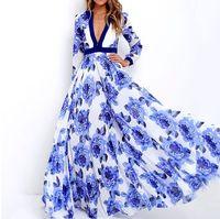 mélange de lin robes décontractées achat en gros de-Femmes D'été Casual Long Vintage Mélange De Lin Flora Impression Robe V Cou Jupe Lumière Confortable Beach Apparel Designer Livraison Gratuite