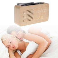 eletrônica bambu venda por atacado-Rádio FM de madeira de bambu led despertador led display eletrônico desktop rádio relógio
