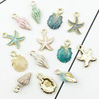 ingrosso piccoli fascini d'argento di pesce-13 PCS Conch Sea Shell Ciondolo Gioielli FAI DA TE Ciondoli Collane Donna Uomo Unisex Fashion Trendy Jewelry Beach Gift
