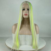 выдвинутые на первый план парики шнурка оптовых-Fantasy Beauty Top Fashion Blonde Основные моменты Желто-зеленый синтетический парик фронта шнурка смешанный цвет парик фронта шнурка для женщин Y190717