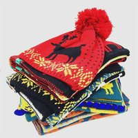 Wholesale girls scarf sets for sale - Group buy Fashion Elk Scarf Hat Sets Woman Cartoon Christmas Knit Beanie Cap Girl Crochet Scarves Outdoor Warm Party Hat TTA1846