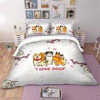 ich liebe cartoon großhandel-Wongs Bettwäsche Cute Dogs Bettwäscheset I love dogs Bettbezug Kissenbezüge Twin Full Queen King Size Bettgarnitur Heimtextilien