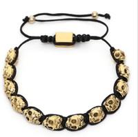 jungen armband weben großhandel-Armbänder für Männer Casual Bracelet For Men Boys Handgewebtes Armband mit antiken Gold- und Silberschädeln