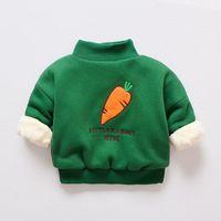 ingrosso giacca con cappuccio in pile per ragazzi-buona qualità Neonati Vestiti Inverno Carota Addensare bambini Felpe di corallo Fleece Bambini Maglioni Giacche Caldo Cappotto di capispalla per bambini