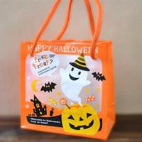 mini bolsa de regalo naranja al por mayor-1piece truco 12x11x6cm Naranja Mini Happy Halloween o invitación Caramelo Bolsas bolsas de regalo de Halloween Party Supplies niños Caramelo Bolsas
