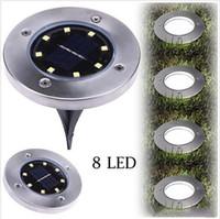 leichte haus solarlampen großhandel-Solar Power Buried Lampe 8 LED U-Licht Boden Außenlicht Weg Garten Rasen Hof Landschaft Haus Dekoration Lampe B5636