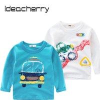 araba uzun kollu toptan satış-Ideacherry Marka Bahar Çocuk Boys Uzun Kollu T-Shirt Pamuk Karikatür Araba çocuk Gömlek Bebek Giysileri Erkek Kazak
