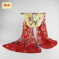 écharpe papillons achat en gros de-Mailgano 2018 Mode Bandana Foulards Imprimé Papillon Foulard En Soie pour Femmes Châle Hijab Foulard Écharpes Long Écharpe Femelle
